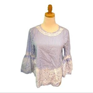 Zara Bell Sleeve Crochet Lace Embellished Blouse